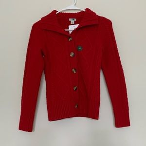 L.L. Bean Red Thick Button Knit Sweater Cardigan